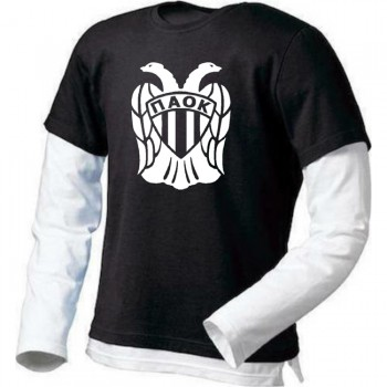 T-SHIRT ΜΑΚΡΥΜΑΝΙΚΟ ΔΙΧΡΩΜΟ PAOK FC